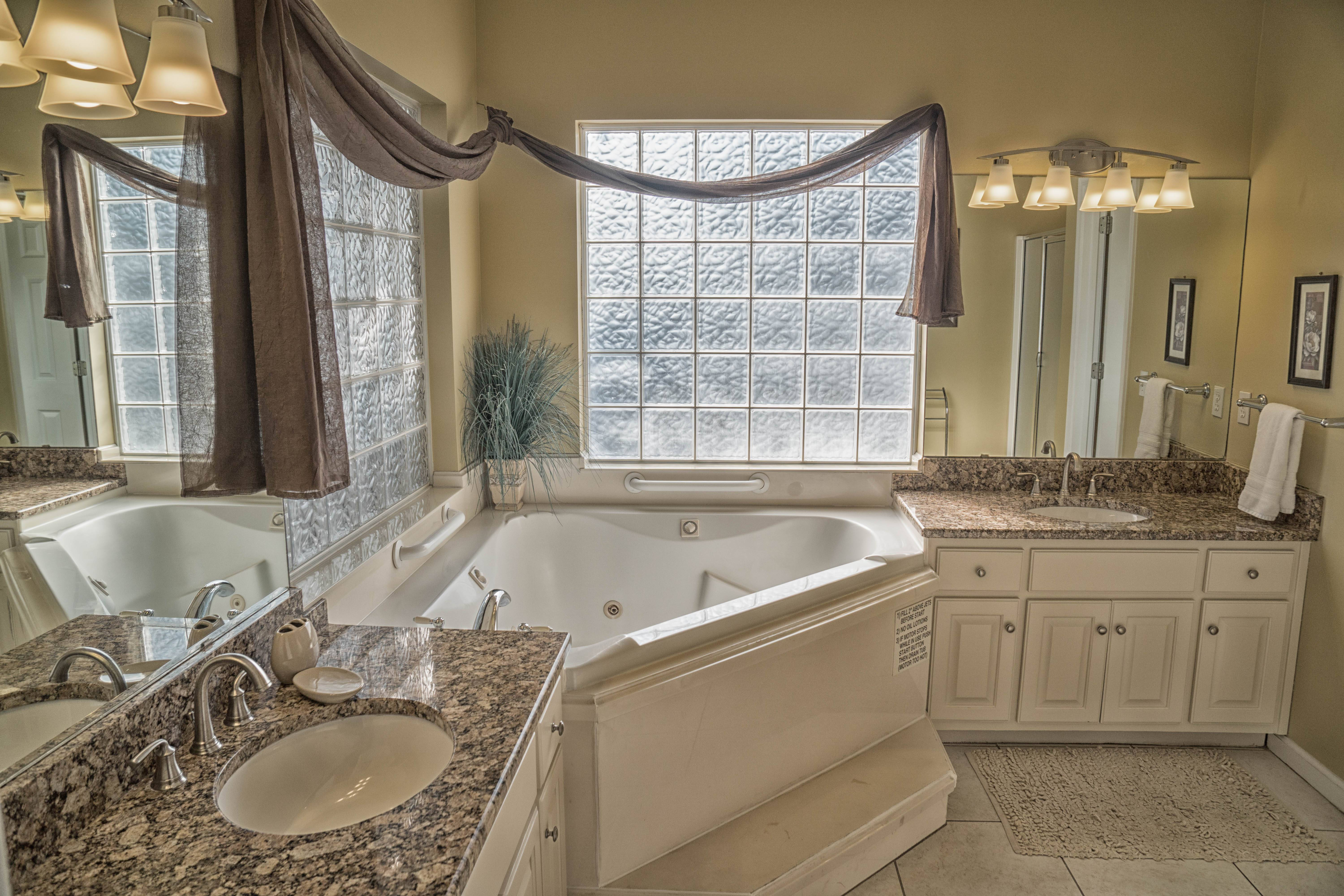 Newly renovated Bathroom with jetted tub and dual sinks