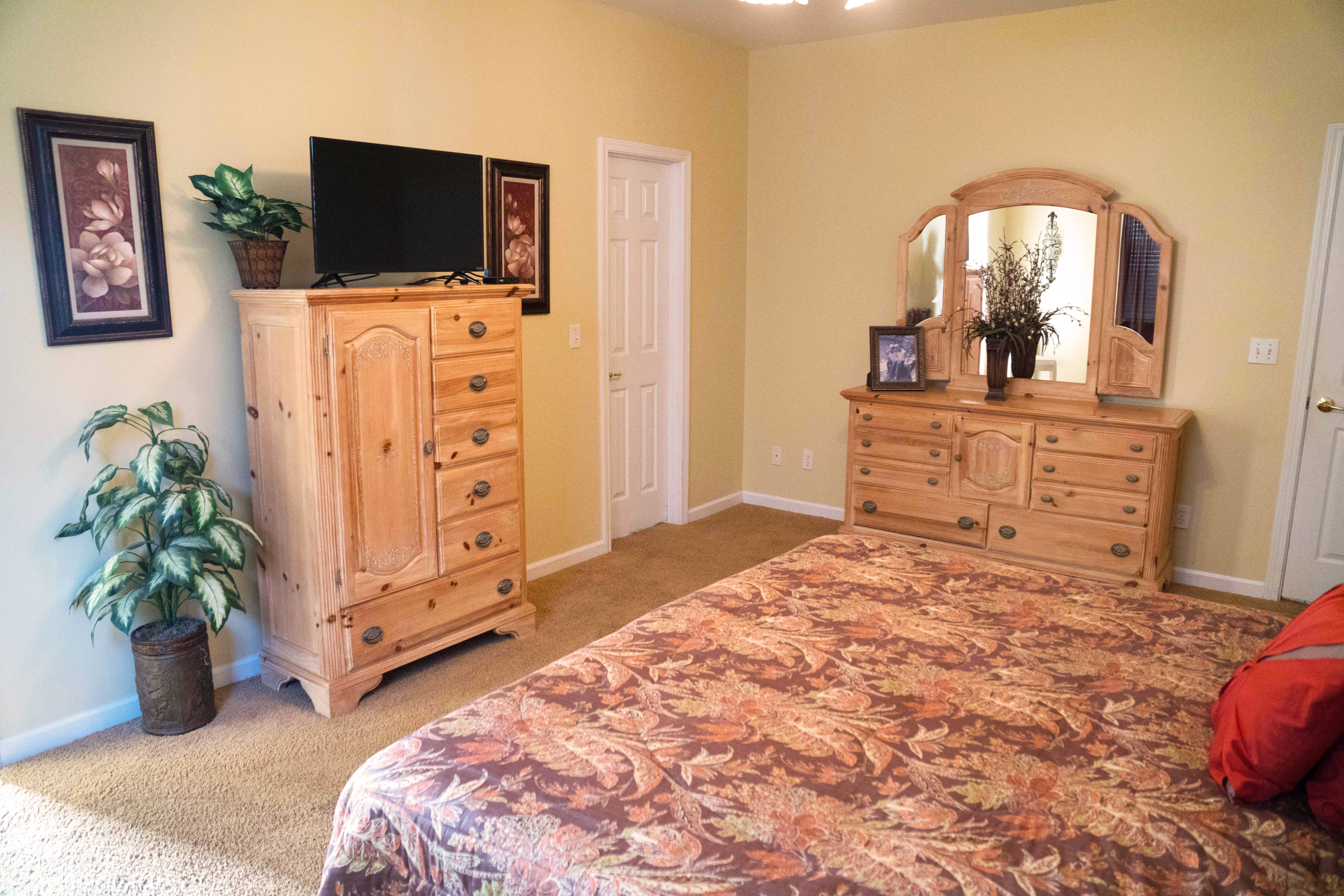 Master Bedroom with King bed and New TV